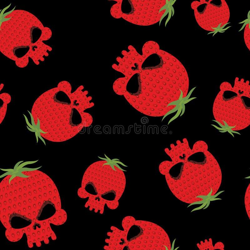 草莓头骨无缝的样式 有textur的红色顶头骨骼 向量例证
