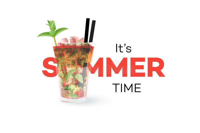草莓Mojito在白色背景隔绝的Coctail 季节性夏天概念性横幅 容易的设计编辑要素导航 皇族释放例证