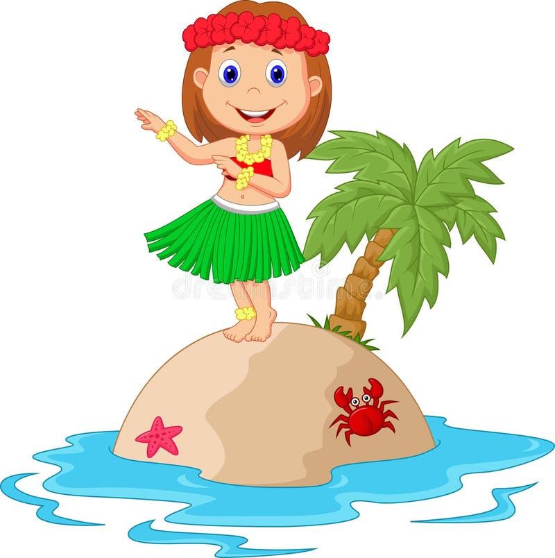 草裙舞女舞伴在热带海岛 库存例证