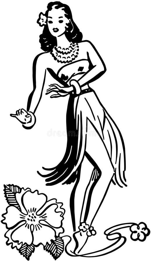 草裙舞女舞伴 向量例证