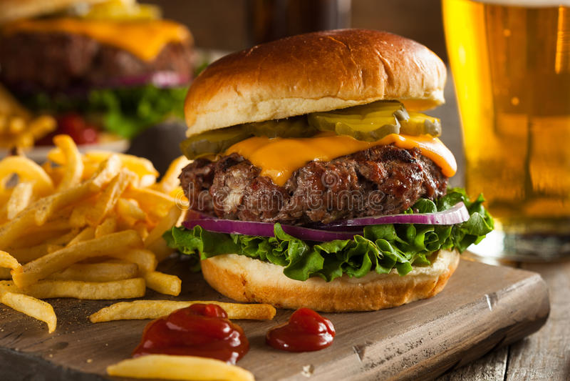草食的北美野牛汉堡包 免版税库存照片