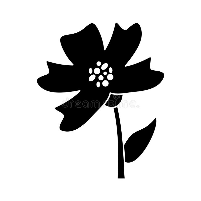 荔枝螺花装饰剪影 向量例证