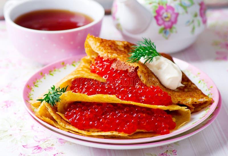 荞麦薄煎饼用鱼子酱 免版税图库摄影