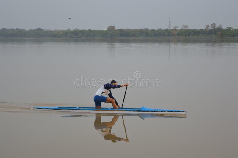 荡桨在昌迪加尔City湖,印度 免版税库存图片