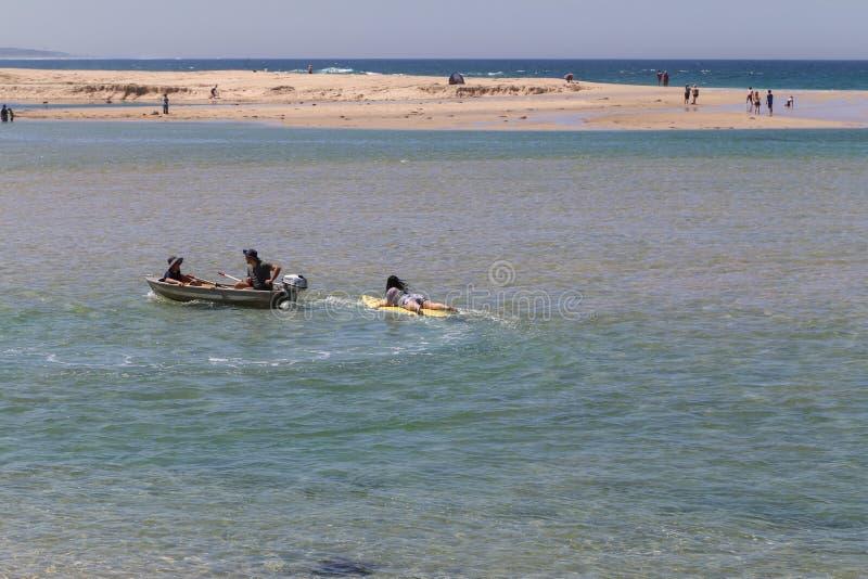 荡桨在湖入口,澳大利亚的人们 免版税库存照片