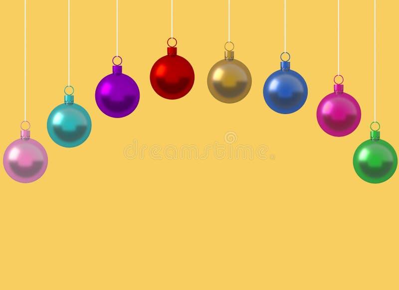 荡桨垂悬在黄色背景的五颜六色的圣诞节球装饰品 生动描述书刊上的图片设计广告的拷贝空间或增加正文消息 向量例证