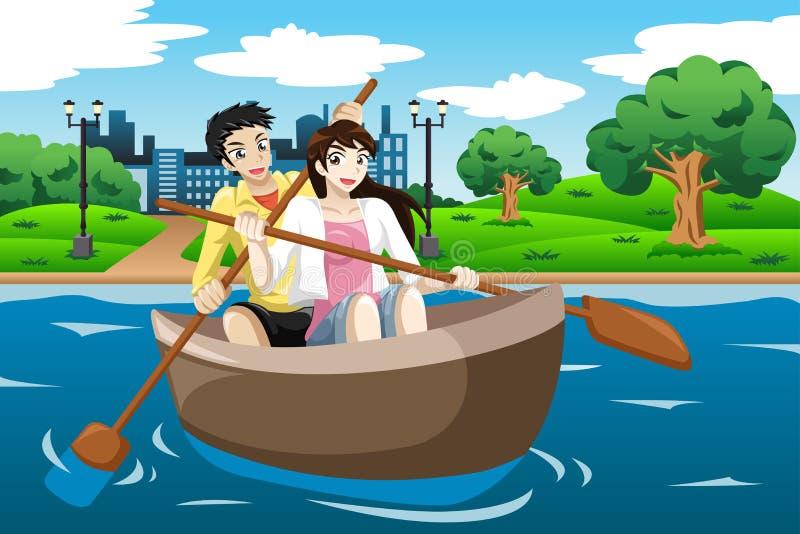 荡桨小船的愉快的夫妇 库存例证