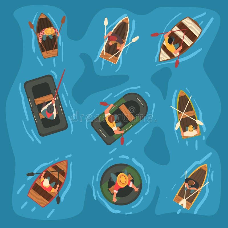 荡桨木和橡胶可膨胀的小船的人的汇集在海,顶视图传染媒介例证 向量例证