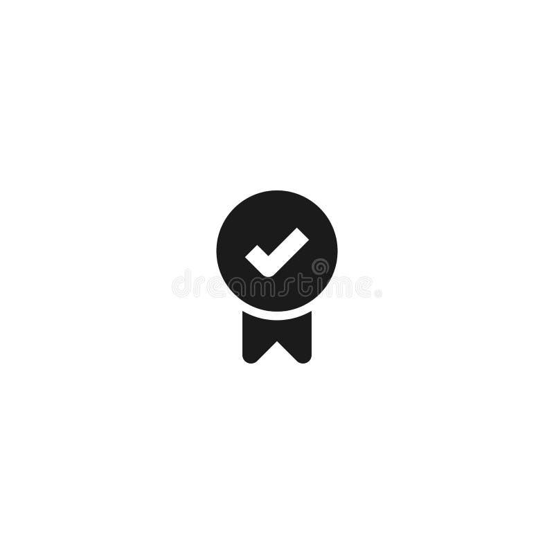 荣誉欣赏象设计 与校验标志标志的奖牌 简单的干净的专业业务管理概念传染媒介 向量例证