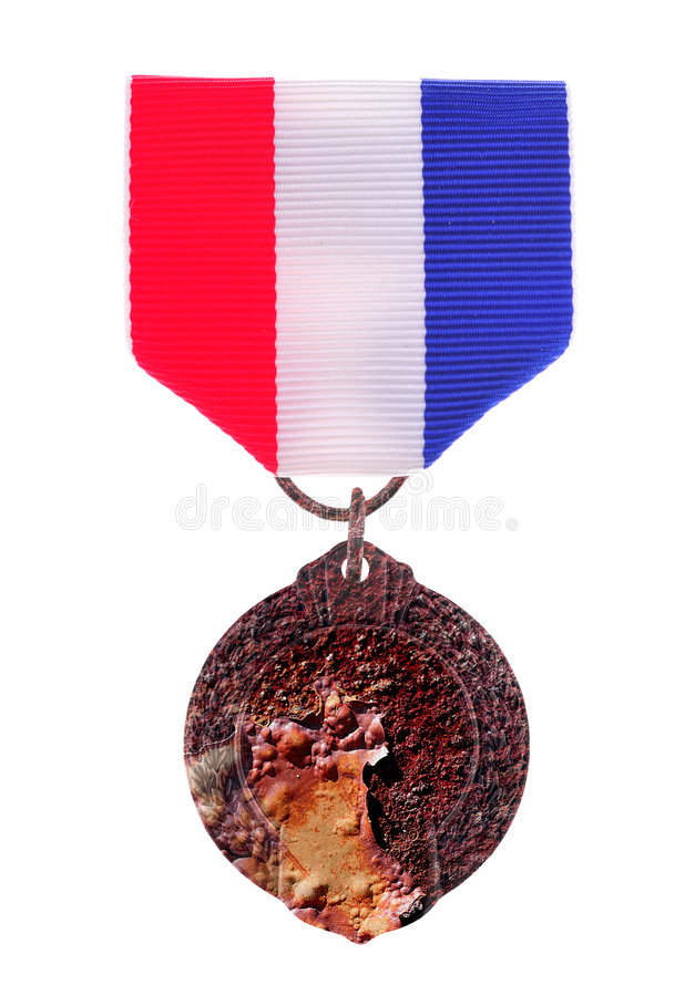 荣誉称号奖牌生锈了 库存图片