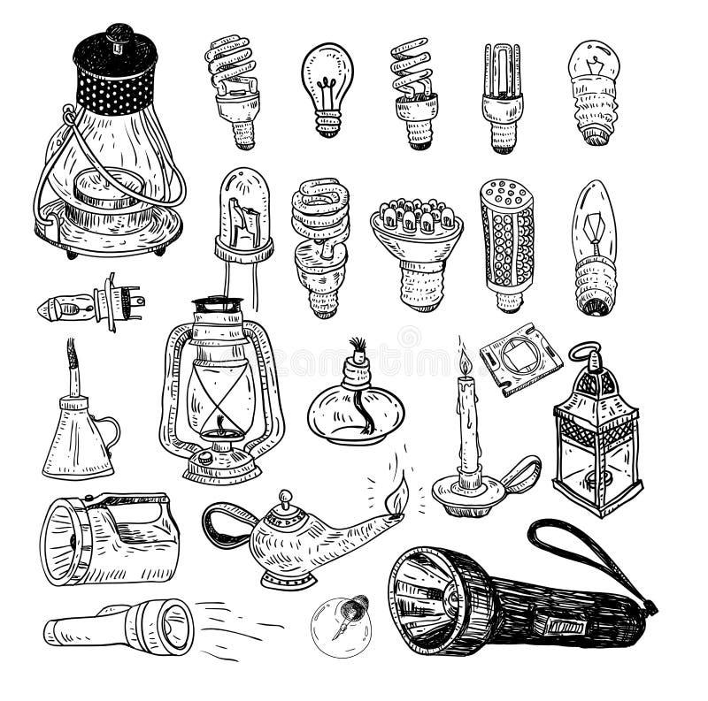 荧光灯电灯泡象-传染媒介例证 向量例证