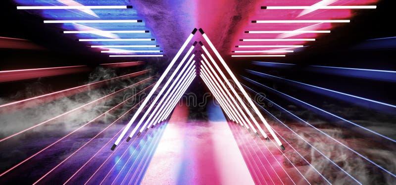 荧光的三角科学幻想小说抽霓虹激光太空飞船未来黑暗的走廊发光的紫色红色蓝色具体难看的东西走廊 皇族释放例证