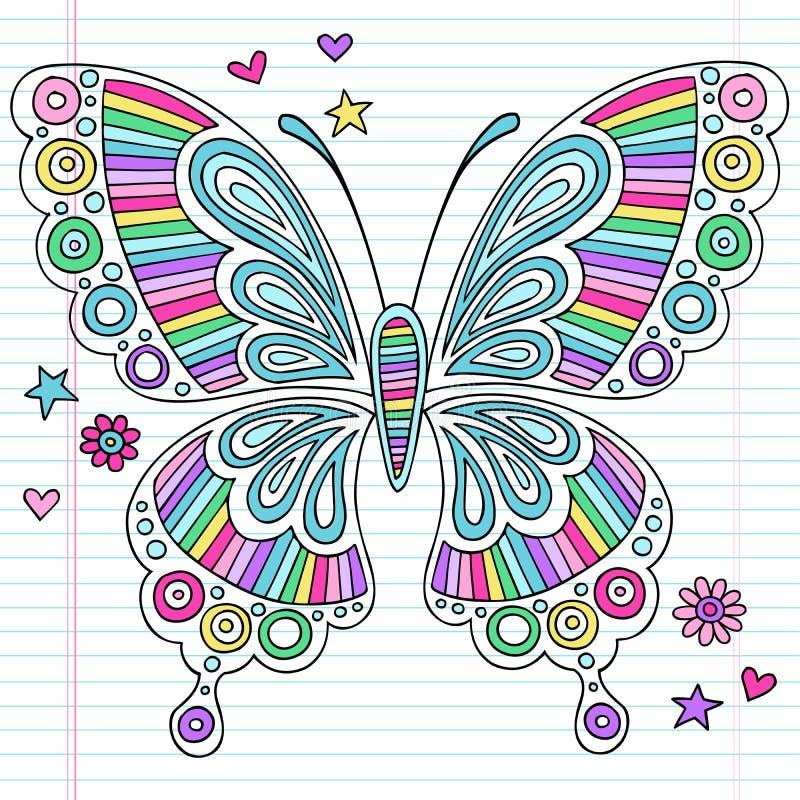 荧光的彩虹蝴蝶笔记本乱画 库存例证