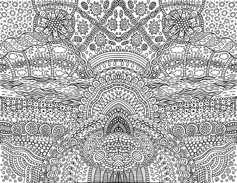 荧光的部族概述对称背景 意想不到的动画片乱画装饰品 成人的着色页 向量 皇族释放例证