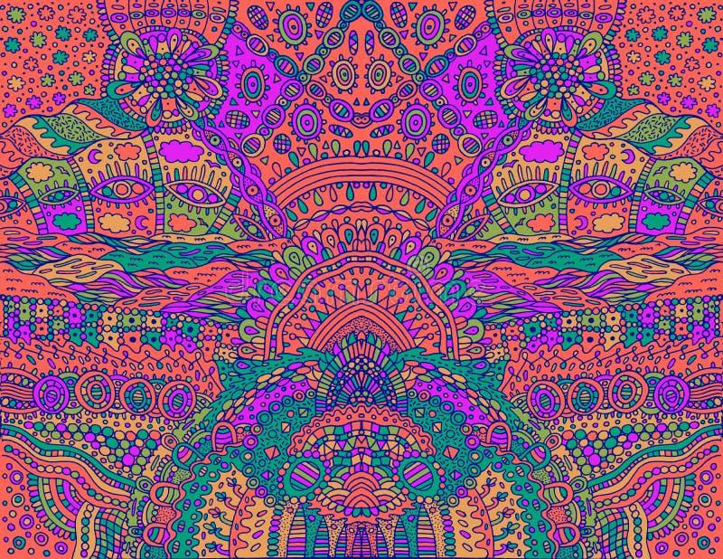 荧光的部族酸颜色对称背景 五颜六色的意想不到的动画片乱画装饰品 也corel凹道例证向量 库存例证