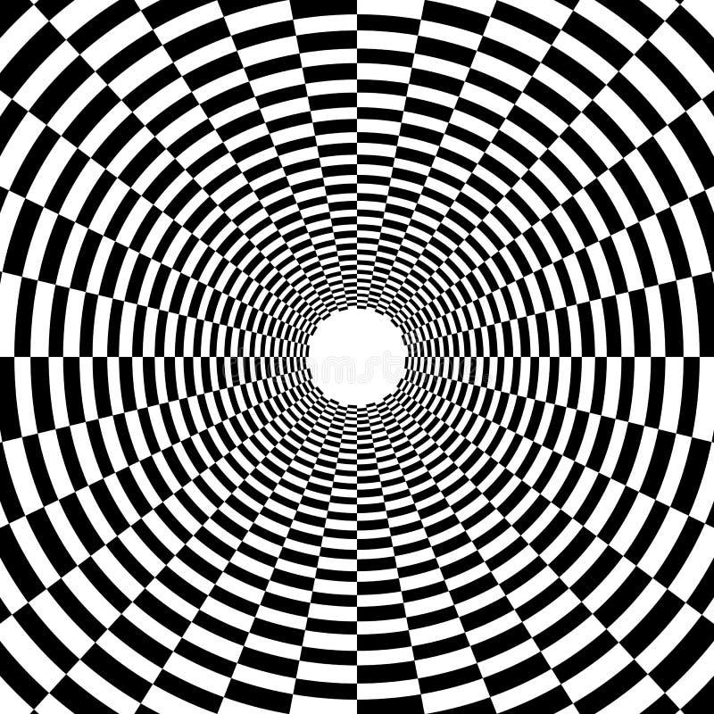 荧光的隧道,在黑白的棋枰样式,王牌 向量例证