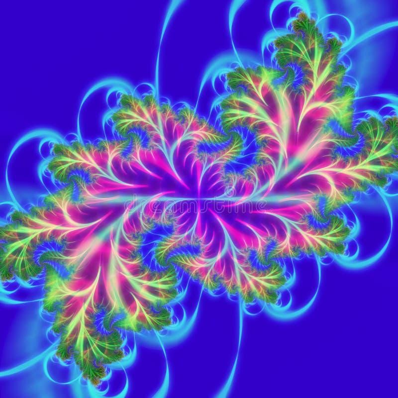 荧光的3D抽象设计 开花的分支,分数维艺术 皇族释放例证