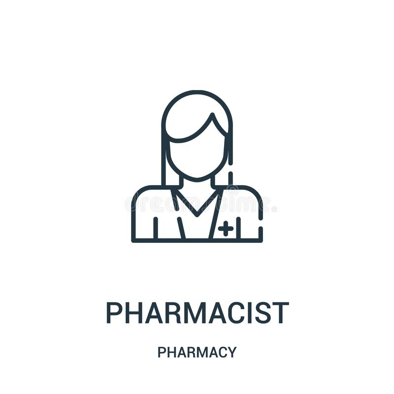 药剂师从药房汇集的象传染媒介 稀薄的线药剂师概述象传染媒介例证 库存例证