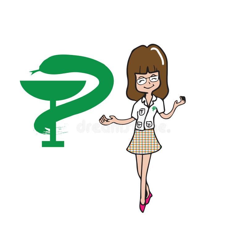 药剂师妇女漫画人物 库存例证