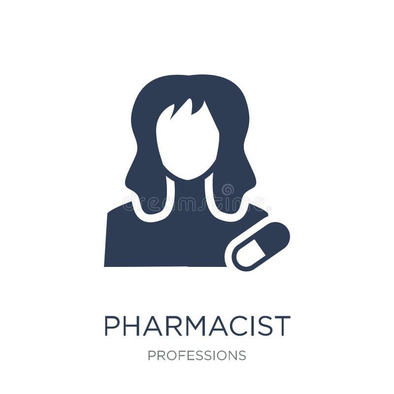 药剂师象 在白色bac的时髦平的传染媒介药剂师象 库存例证