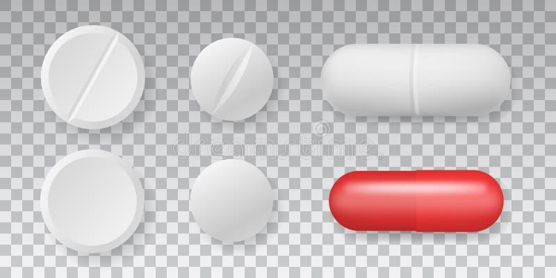 药剂顶视图在透明背景设置的传染媒介药片 皇族释放例证
