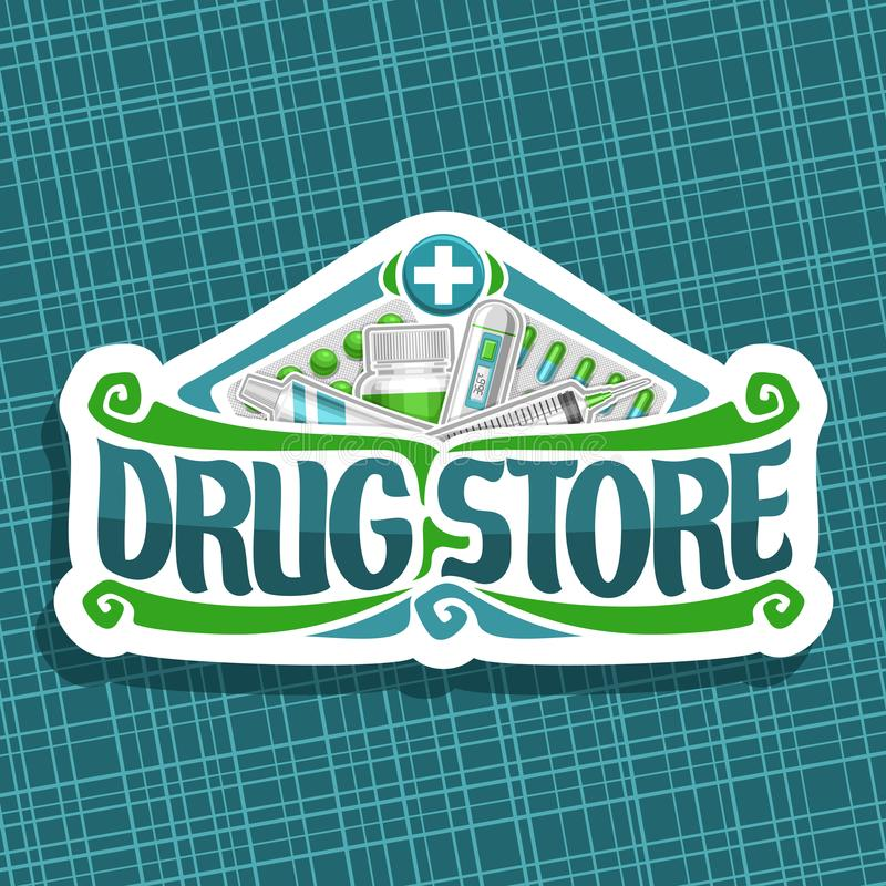 药店的传染媒介商标 库存例证