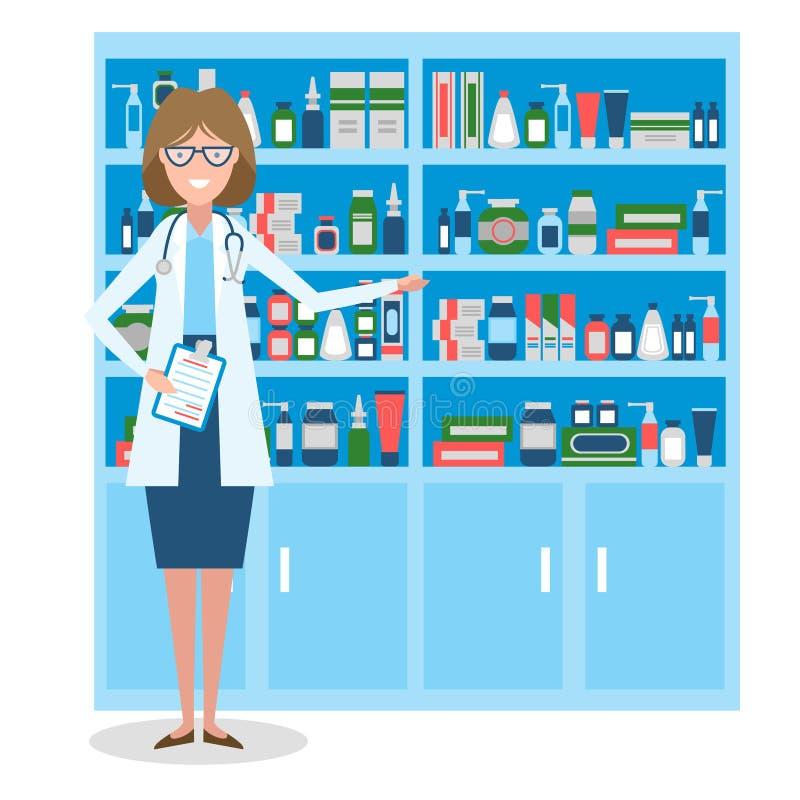 药店的药剂师 向量例证