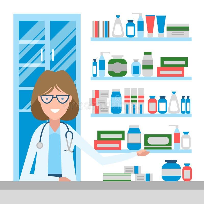 药店的药剂师 库存例证