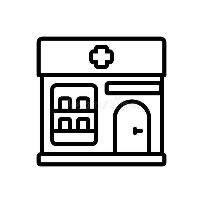 药房、药商和大厦的黑线象 库存例证