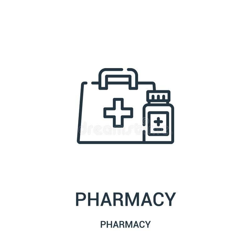 药房从药房汇集的象传染媒介 稀薄的线药房概述象传染媒介例证 库存例证