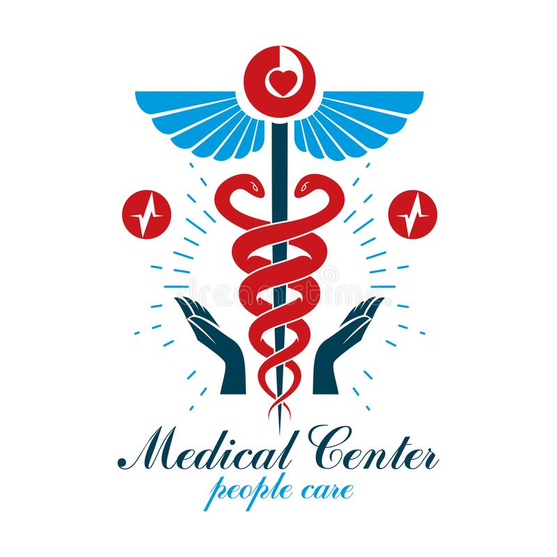 药房众神使者的手杖象、用心形创造的医疗商标和心电图图标志 心脏病学诊断诊所 库存例证