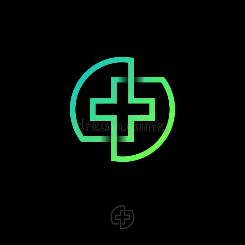 药房发怒象 药房商标 绿色医学十字架包括在圈子的跨过的线 向量例证