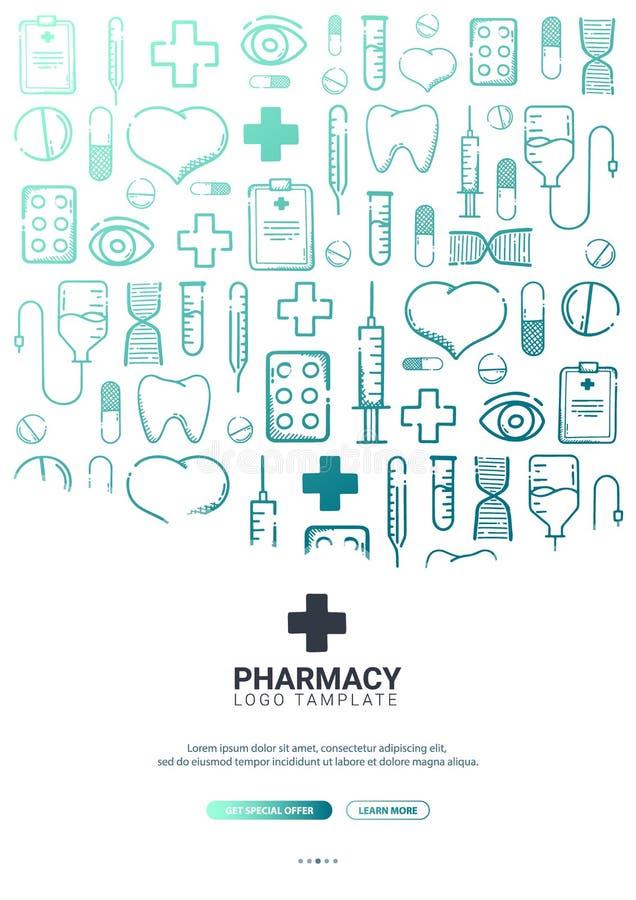 药房和医疗横幅有乱画背景 药片,维生素片剂,医疗药物 r 皇族释放例证