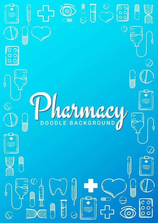 药房和医疗横幅有乱画背景 药片,维生素片剂,医疗药物 r 库存例证