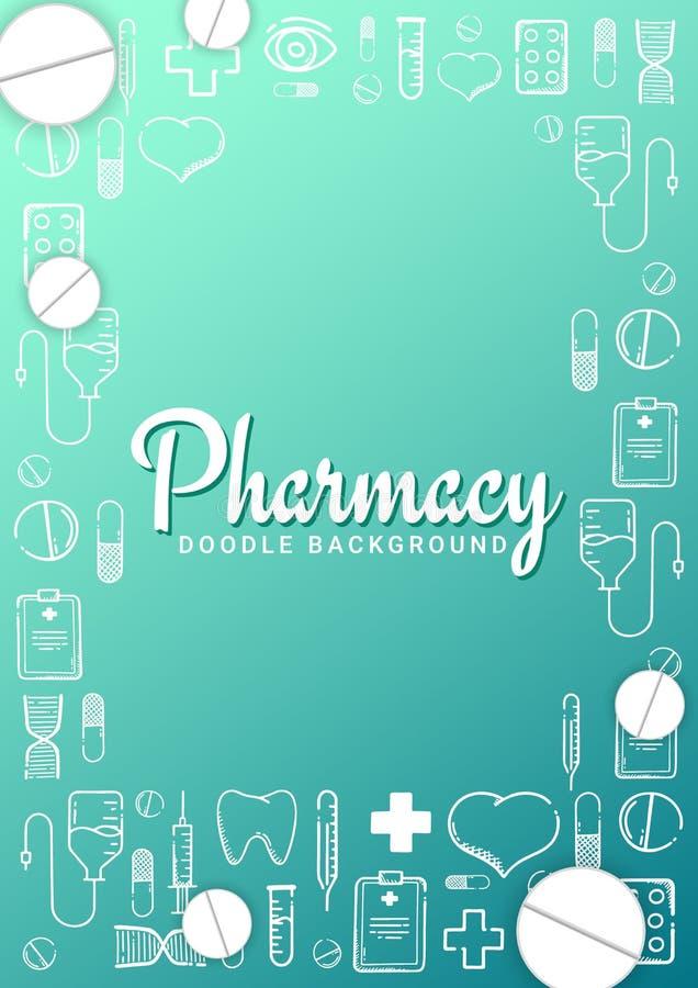 药房和医疗横幅有乱画背景 药片,维生素片剂,医疗药物 r 向量例证