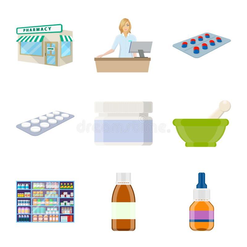 药房和配药标志传染媒介设计  药房和健康股票简名的汇集网的 皇族释放例证