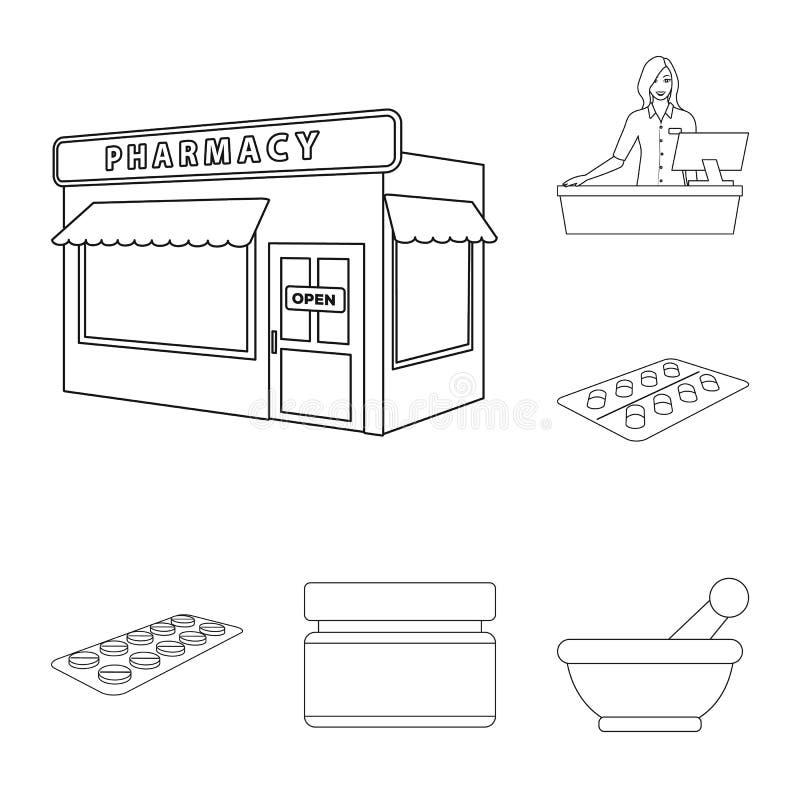 药房和配药标志传染媒介设计  药房和健康股票简名的汇集网的 库存例证