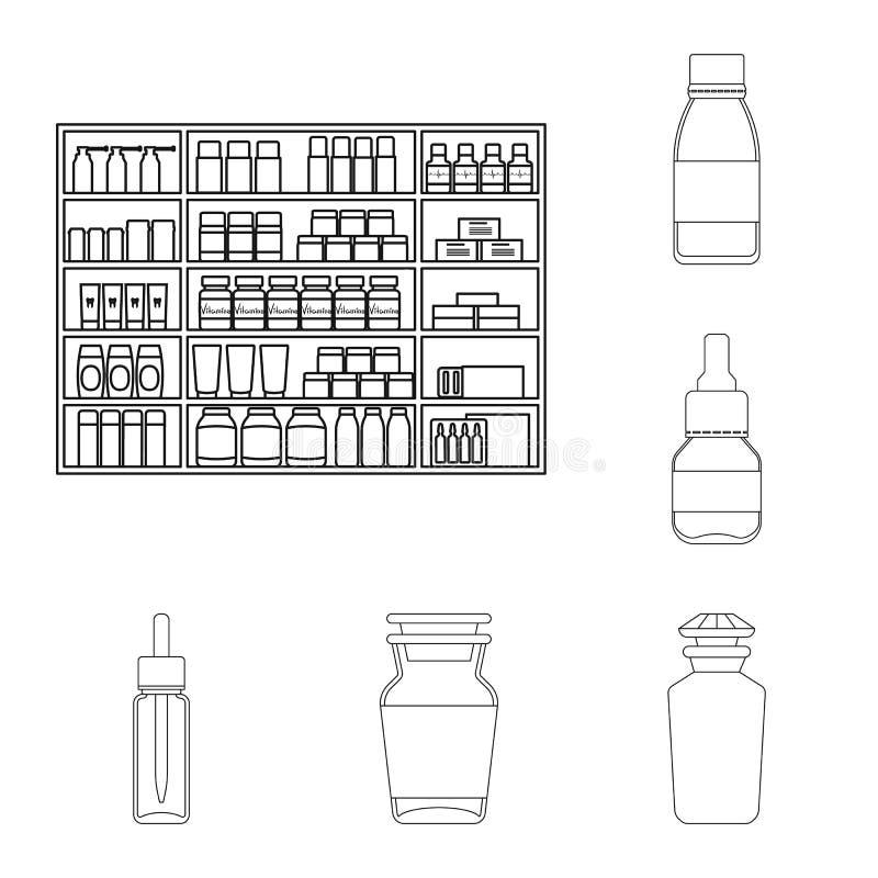 药房和配药标志传染媒介设计  设置药房和健康股票简名网的 向量例证
