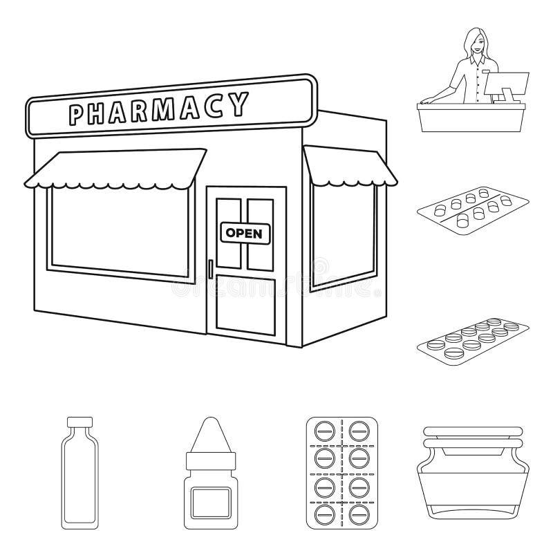 药房和配药标志的传染媒介例证 r 皇族释放例证