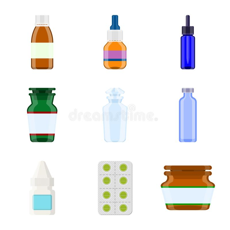 药房和配药象传染媒介设计  药房的汇集和健康股票的传染媒介象 库存例证