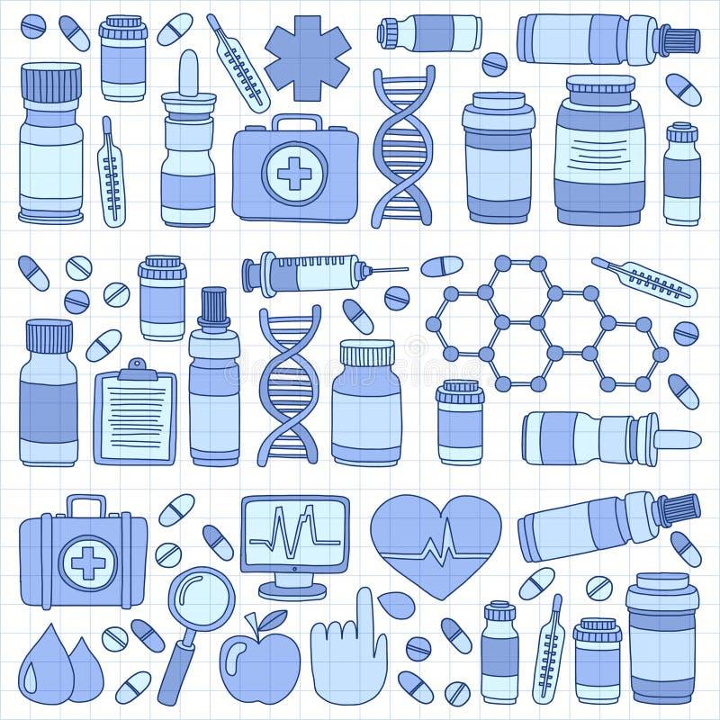 药房和医学乱画传染媒介图片 皇族释放例证