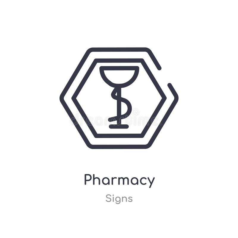 药房概述象 r 在白色的编辑可能的稀薄的冲程药房象 皇族释放例证