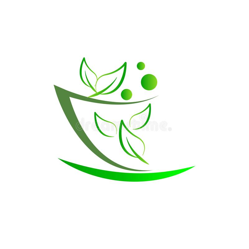 药房灰浆和杵自然医学医疗保健商标 库存例证