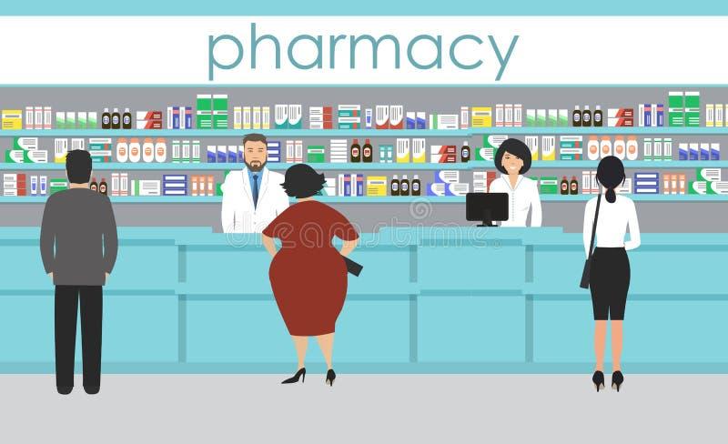 药房的人们 在架子附近的药剂师立场与医学 库存例证