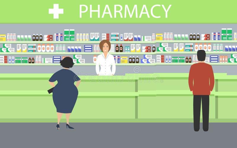 药房的人们 药剂师在与医学的架子附近站立 库存例证