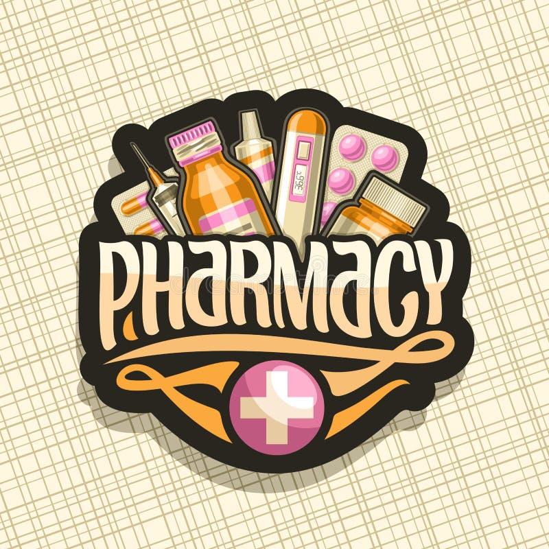 药房的传染媒介商标 皇族释放例证