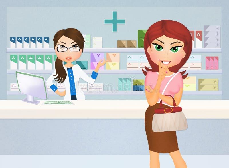 药房的妇女 向量例证