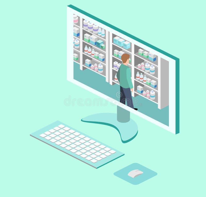 药房等量内部  平的3D infographic例证 库存例证