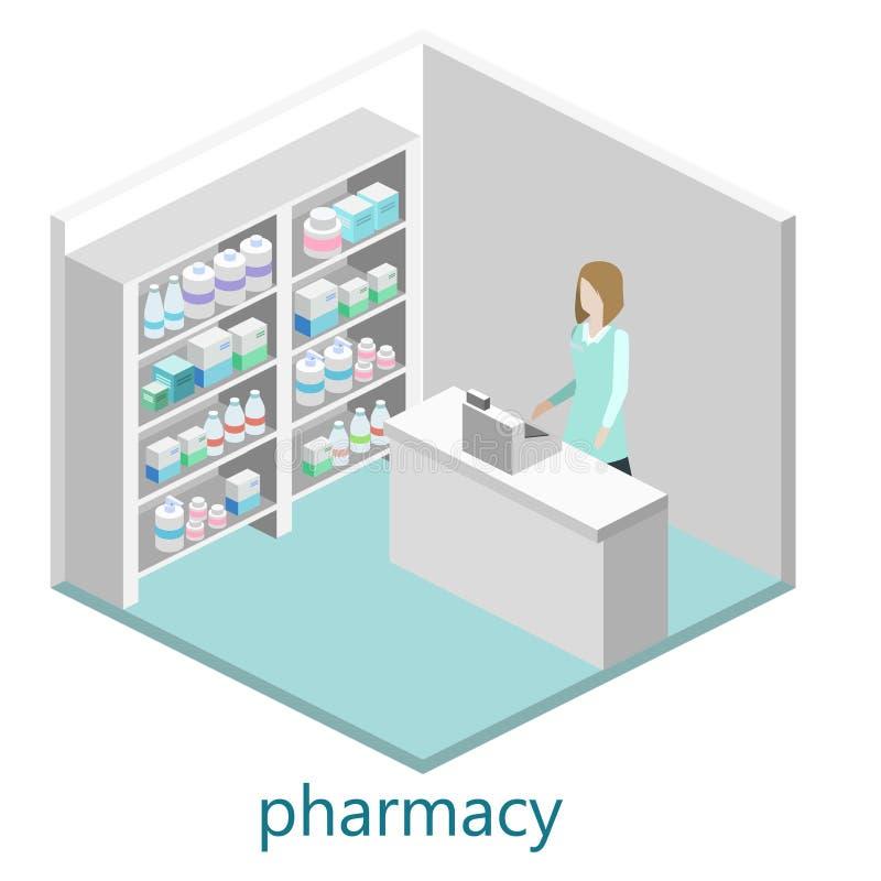 药房等量内部  平的3D infographic例证 向量例证