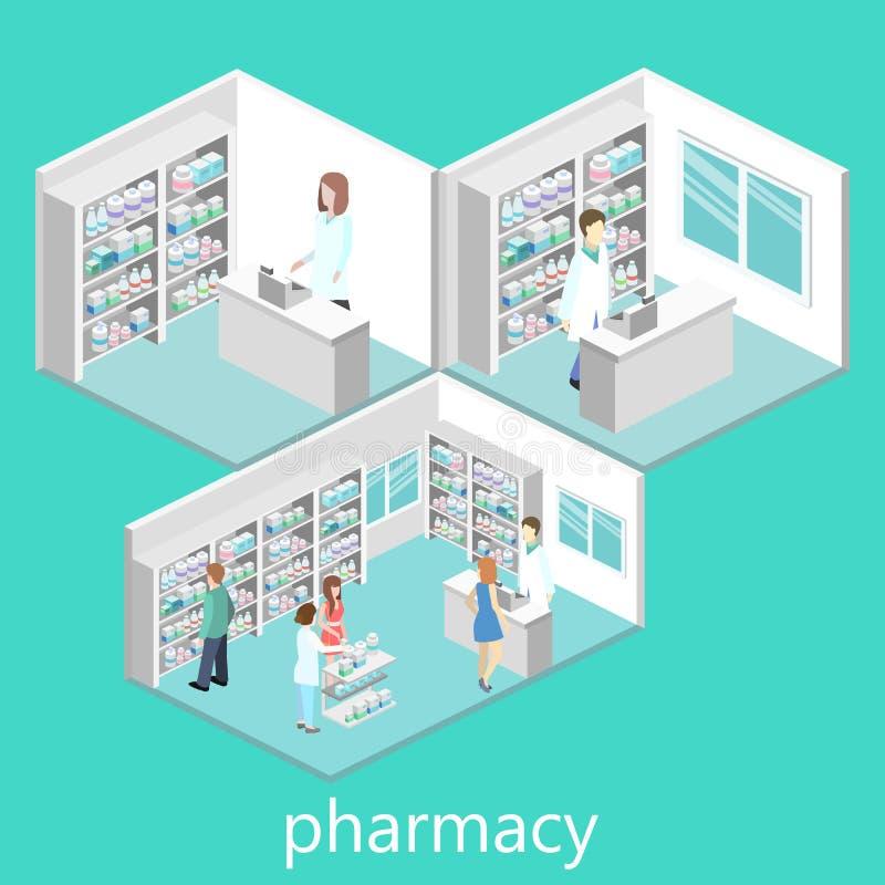 药房等量内部  库存例证
